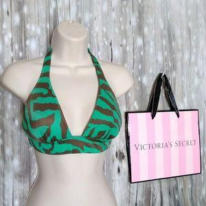 VS green zebra bikini top sz. M